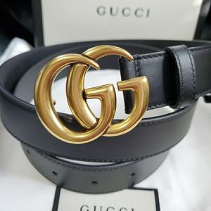 💗Authentic Gucci Marmont Belt Thin Black Leather